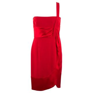 Valentino Red Silk One Shoulder Dress