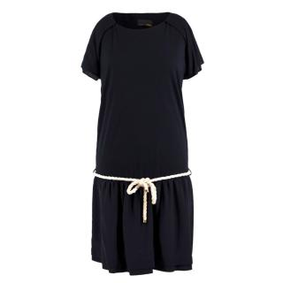 Fendi Navy Rope Tie-waist Silk Dress