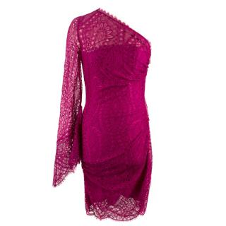 Emilio Pucci Pink Lace One-sleeve Dress