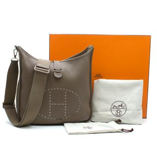 Hermes Clemence Leather PM Etoupe Evelyne III Bag