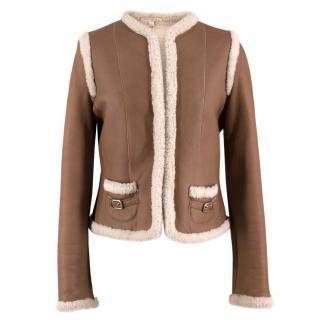 Paule Ka Brown Leather & Shearling Coat