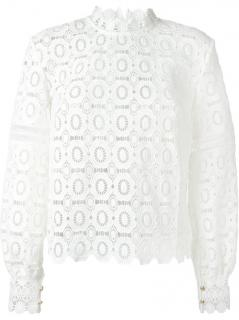 Self Portrait Crochet Long Sleeve Top