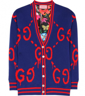 Gucci Blue Reversible Logo Knit Cardigan