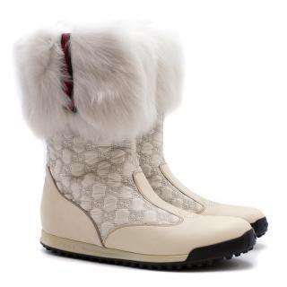 Gucci Fur-trimmed Monogram GG Boots