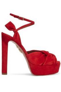 Aquazzura Red Suede Platform Sandals