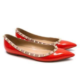 Valentino Red Patent Rockstud Flats
