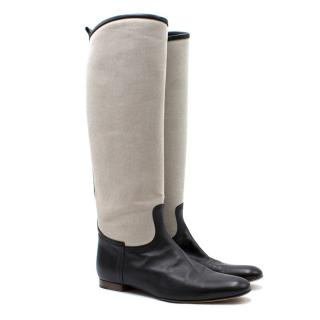 Hermes Canvas Riding Boots