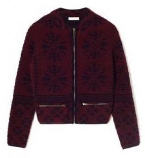 Chloe Jacquard Wool Zip Front Sweater