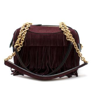 Burberry Purple Night Bee Fringed Suede Shoulder Bag