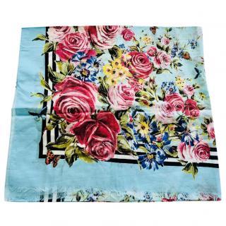 Dolce & Gabbana Blue Rose Print Scarf
