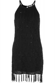Joie Black Sanibel Fringed Beaded Gauze Mini Dress