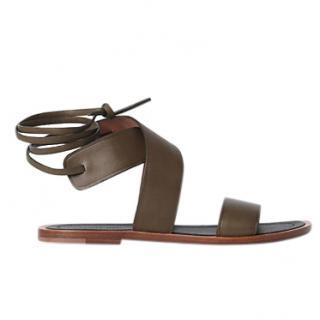 Celine Khaki Ankle Strap Sandals