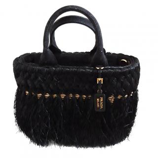 Prada Black Fringed Raffia Weave Basket Bag
