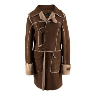 Diesel Brown Leather Shearling Coat