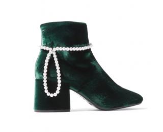 MM6 Maison Margiela Embellished Velvet Ankle Boots