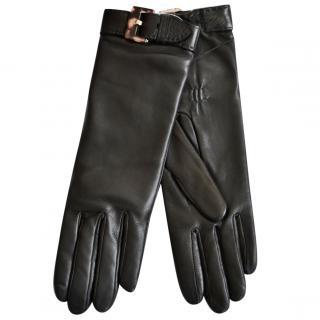 Ralph Lauren Collection black leather gloves