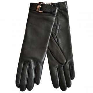 Ralph Lauren Collection black leather gloves