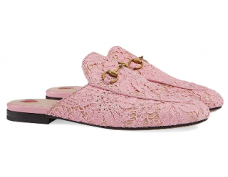 Gucci Pink Lace Princetown Mules