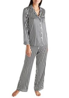 Yolke Black & White Classic Silk Pyjama Set