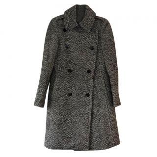 Club Monoco Black & White Wool Tweed Coat