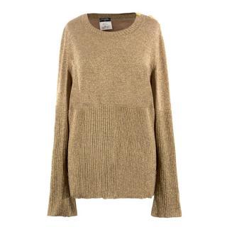 Chanel Gold Wool Longline Jumper