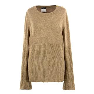 Chanel Gold Wool Longline Jumper