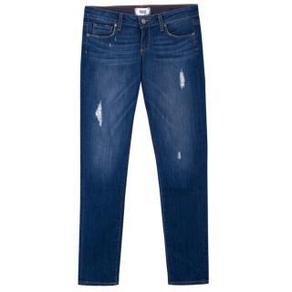 Paige Skinny Distressed Blue Jeans