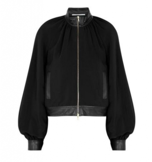Rosetta Getty Black Faux Leather-Trimmed Jacket