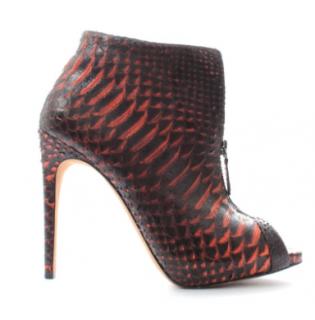 Alexandre Birman Peep Toe Python Boots
