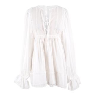 Dolce & Gabbana Lace Trimmed Cotton Blend Mousseline Top