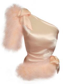 Maguy de Chadirac Marabou feather One Shoulder Pyjama