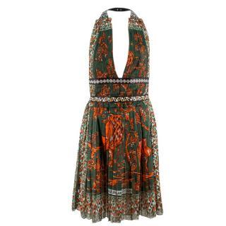 Valentino Green Print Halterneck Dress