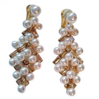 Oscar De La Renta Crystal & Pearl Embellished Baguette Clip Earrings