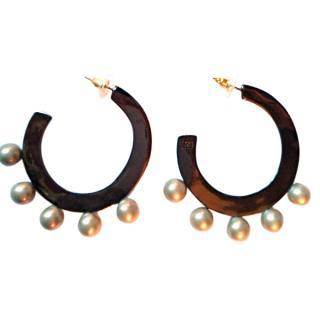 Alexis Bittar Grey Pearl Hoop Earrings New Season