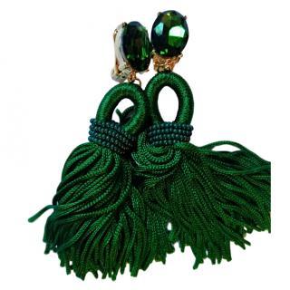 Oscar De La Renta Green Silk Crystal Tassel Clip Earrings