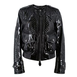Burberry Patent Leather Quilted Bomber Jacket