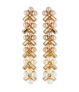 Oscar De La Renta Pearly Baguette Drop Earrings