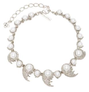 Oscar De La Renta Crystal & Pearl Fanned Necklace