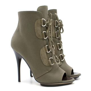 Giuseppe Zanotti Green Lace Up Booties