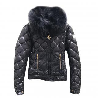 Moncler quilted down fur trim jacket