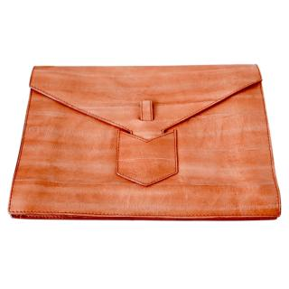 Yves Saint Laurent Cinnamon Eel Skin Y Envelope Clutch Bag