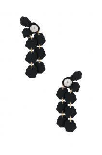 Lele Sadoughi Black Crystal  Flower Clip Earrings