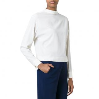 Marni oyster coloured roll neck deep v back silk blend blouse
