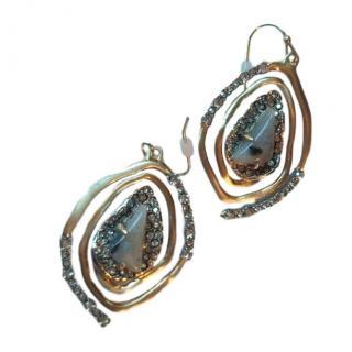 Alexis Bittar Semi Precious Crystal Oval Hoop Earrings