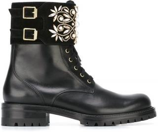 Rene Caovilla Lace Up Embellished Buckled Ankle Boots