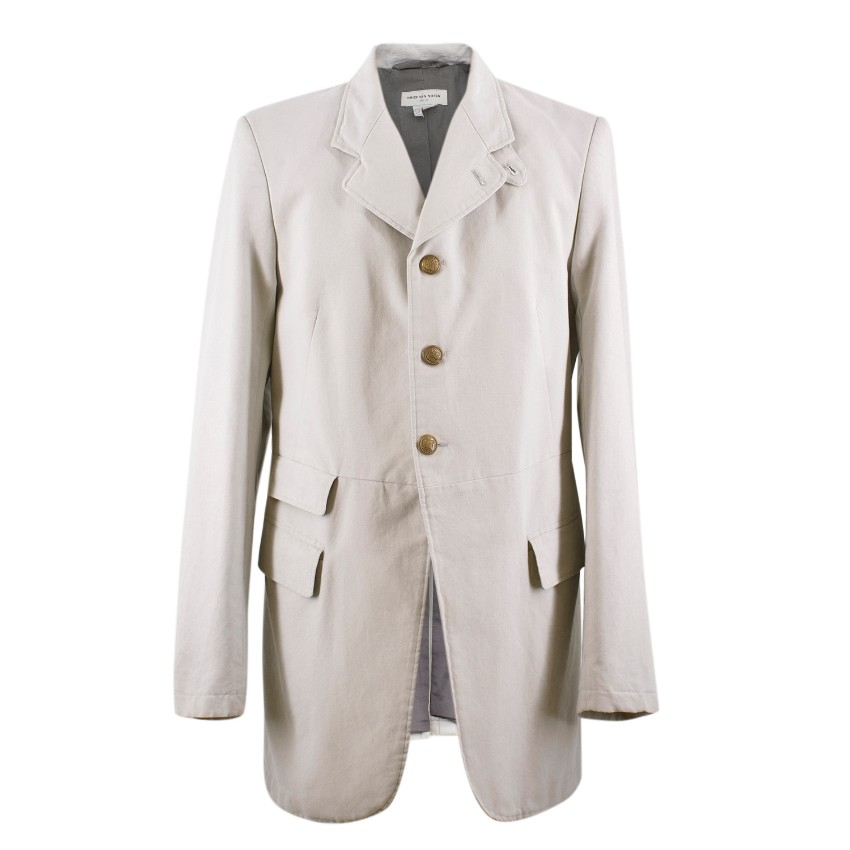Dries Van Noten Stone Grey Cotton-Blend Jacket