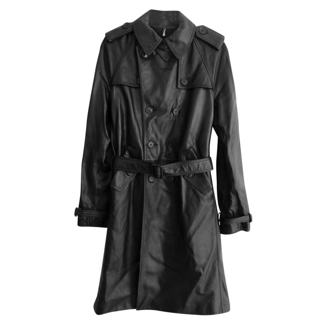 Dior Homme Hedi Slimane AW05 Black Leather Trench Coat New w/Cover