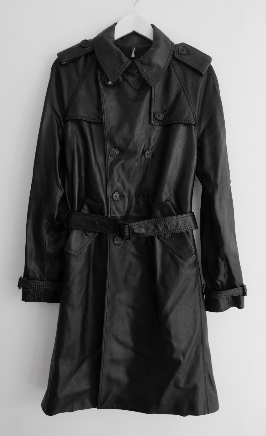 Aw05 Homme Dior Slimane New Hedi Leather Coat Black Trench Wcover dTqqwat