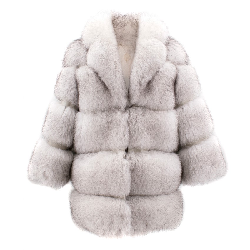 Keska White Arctic Fox Fur Coat