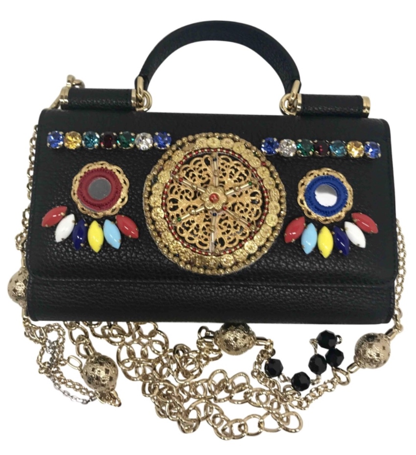 5c31b53ec16 Dolce Gabbana Leather Sicily Pom Pom Bag | HEWI London